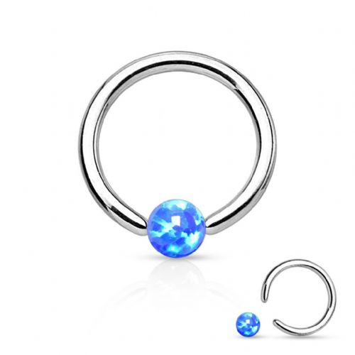 Captive Bead Ring with Blue Opal Ball Surgical Steel